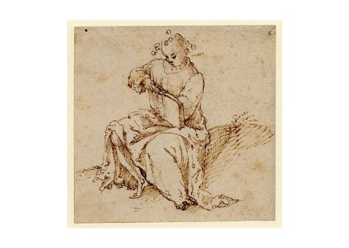 A seated figure holding a book
