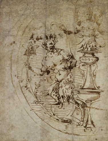 Circular ornament with a satyr and a candelabrum