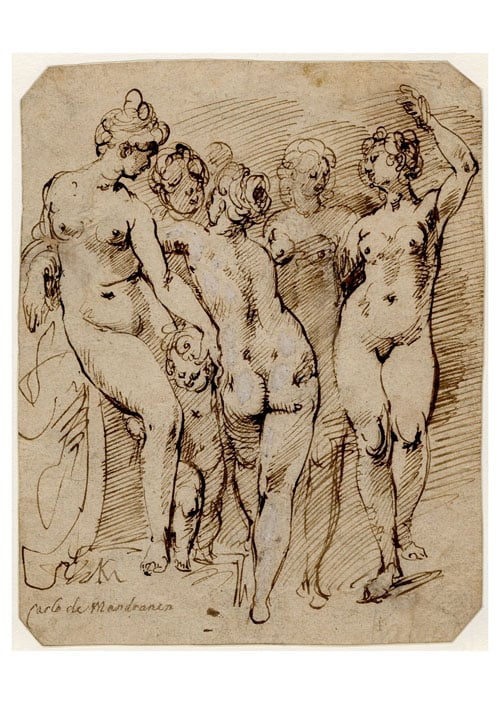 Four standing female nudes and a child