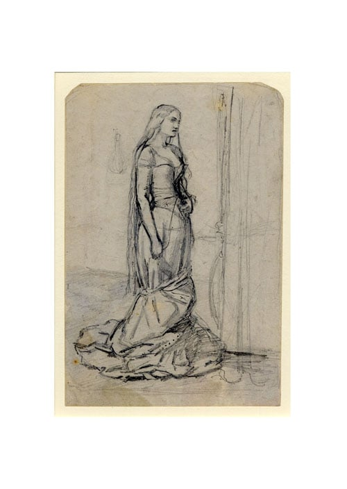Study of a standing woman for 'The Eve of St Agnes'