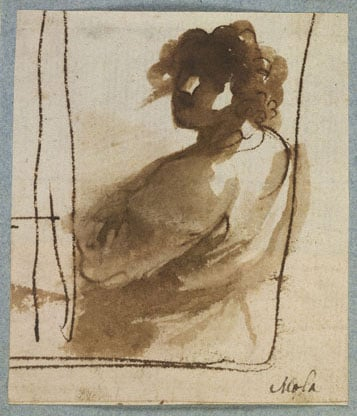 Half-length figure seen from the back, turning to face the spectator
