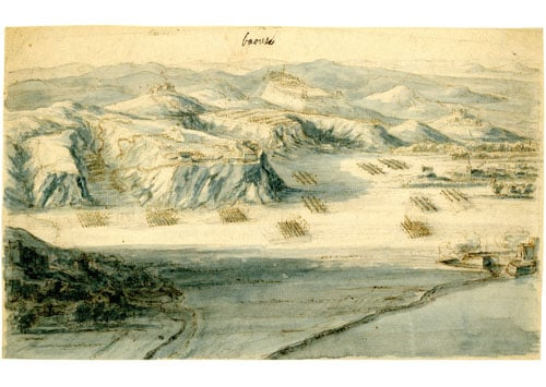 Landscape with military exercises at Mont Faron, Toulon