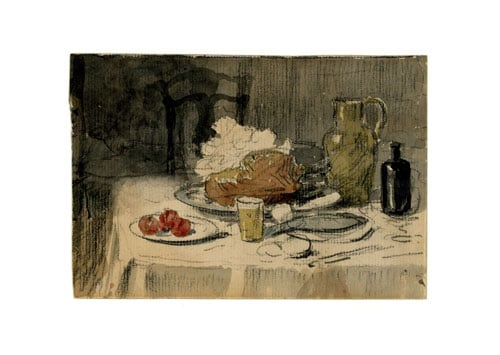 Still life with fruit and meat on a table