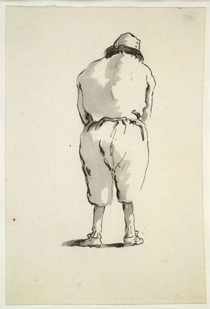 Caricature of a man seen from behind