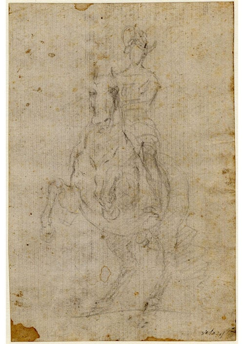 Figure astride a rearing horse, seen from the front