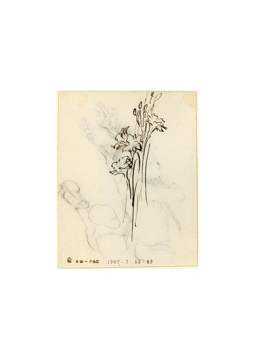 Two studies of a child holding flowers