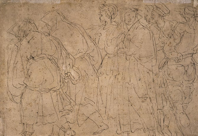 Two Standing Women  & A Procession of six figures