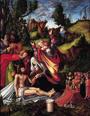 Central panel for the triptych 'Lamentation of Christ with a group of donors'