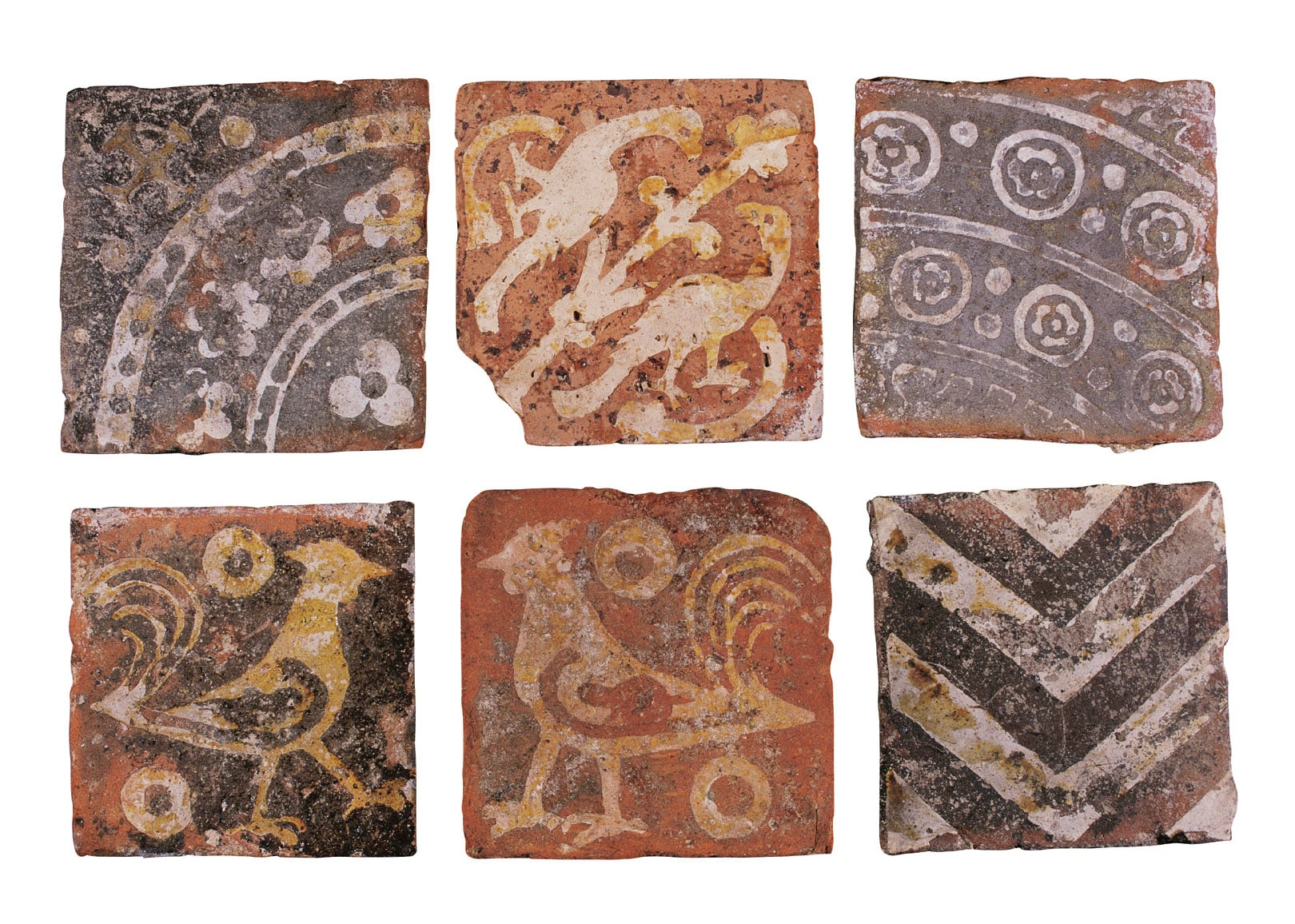 Collection of medieval floor tiles
