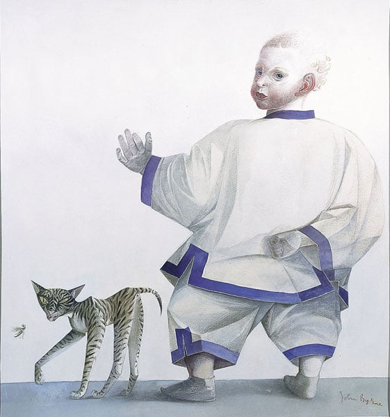'Honor with a Monkey' and 'Xavier with a Siamese Cat'