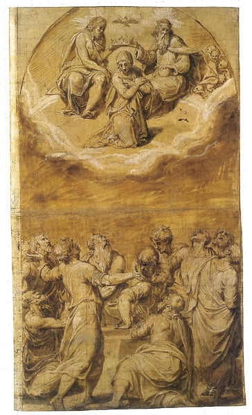 The coronation of the Virgin, with the Apostles at her tomb below