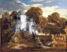 Landscape with herdsman and cows crossing a bridge
