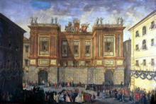 Prince James Francis Edward Stuart receiving his son, Prince Henry Benedict, in front of the Palazzo Muti, Rome