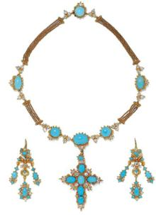 Necklace with a Cross and Girandole Earrings