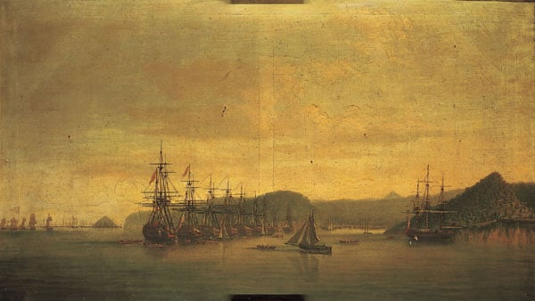 The British Fleet at Anchor off St Lucia, 1778