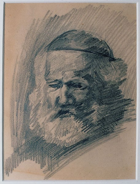 Sketch of an unknown bearded man