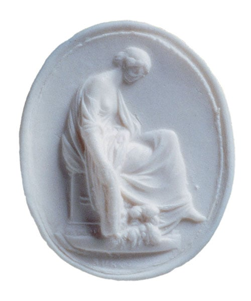Pendant-seal: Winter/Garden Nymph protecting a flower