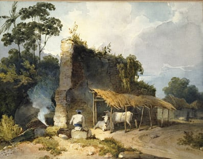Macao; a Ruin with Cows