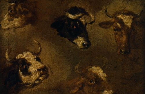 Landscape with Cattle & Studies of a Horse's Head & Studies of Cows' Heads