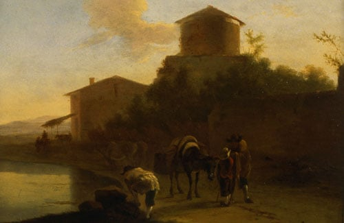 Landscape with Tower and Figures by a Lake & Landscape with Figures - Evening