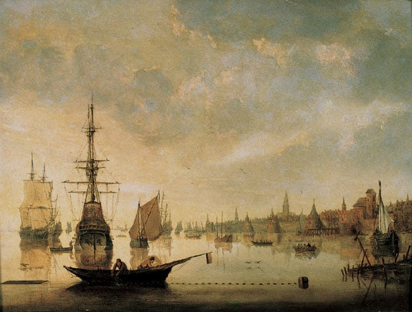 River Scene with Town and Shipping