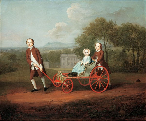 Triptych: Mr Peter Ducane, Mary, nee Norris, his wife & The Ducane Children