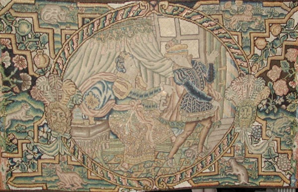 Collection of tapestries, textile panels, silk mosaics & beadwork box