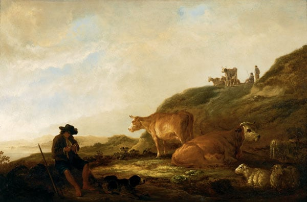 Seated Shepherd with Cows and Sheep in a Landscape