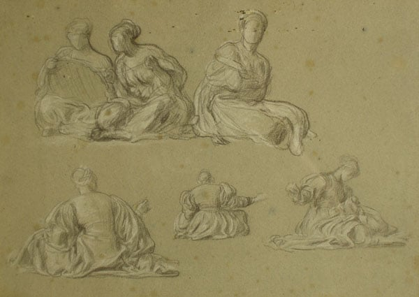 Studies of female figures for 'The Arts of Industry as Applied to War'
