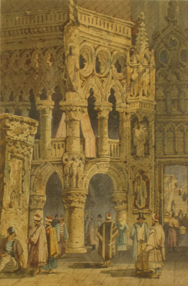 Figures at a Cathedral or Palace
