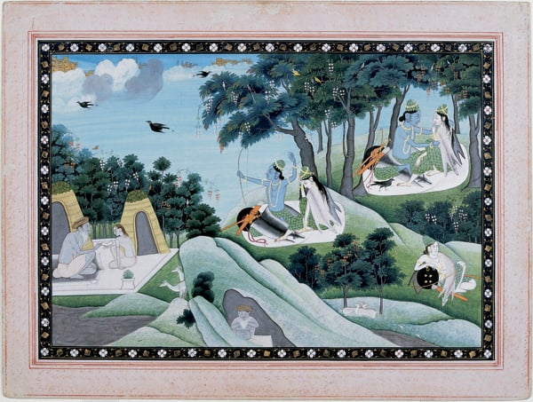 Rama and Sita in the Forest & A Lady and her Attendants on a Terrace & Dipak Raga