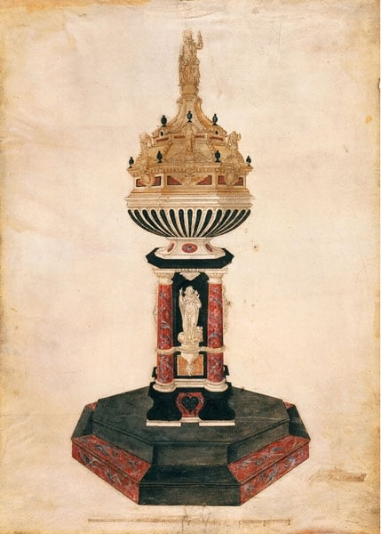 Presentation design drawing of the baptismal font for Canterbury Cathedral
