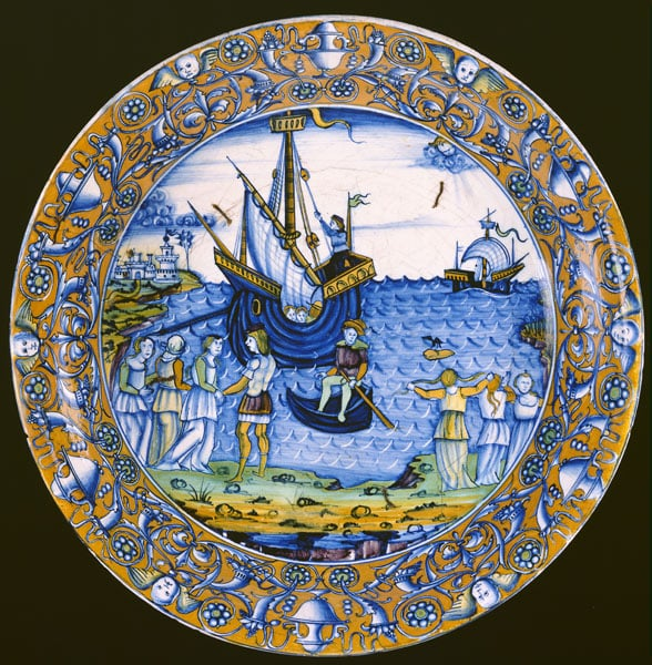 Maiolica dish: The Departure of Ceyx