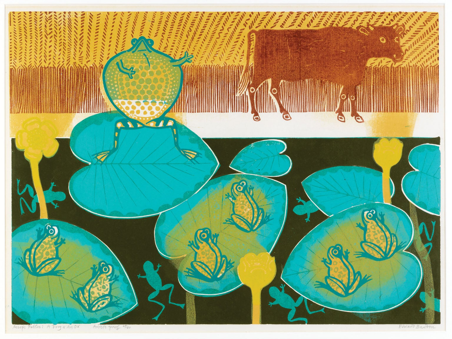 Five linocuts from the Aesop Suite