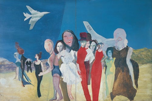 1) Waiting Woman and Two Nuclear Bombers (Handley Page Victors); 2) Figure no 2 (Triptych); 3) The Blue Guitar, a Quarter Panel from 'The Odyssey'; 4) Change of Heart