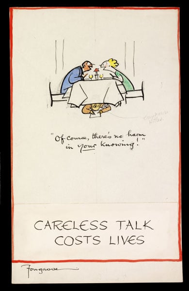 Designs for wartime information campaign 'Careless Talk Costs Lives'