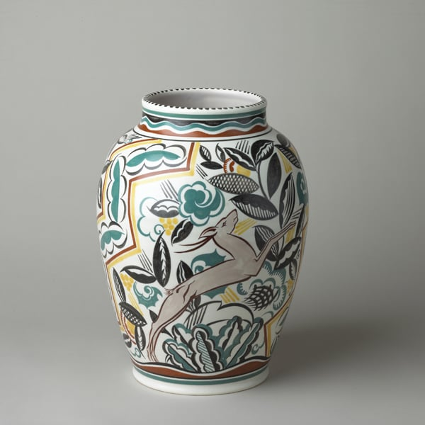 Vase with 'leaping deer' pattern