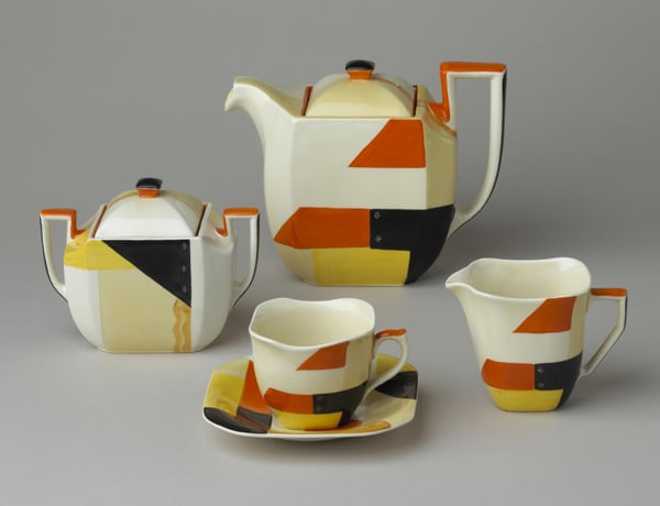 Cube shape teaset decorated with 'Galaxy' pattern