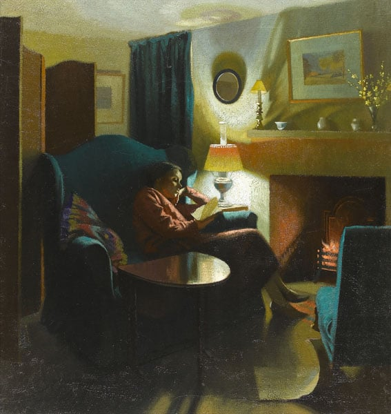 The artist's wife, Evelyn, seated reading