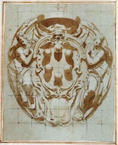 An elaborate Cartouche with the Medici Arms flanked by Justice and Wisdom