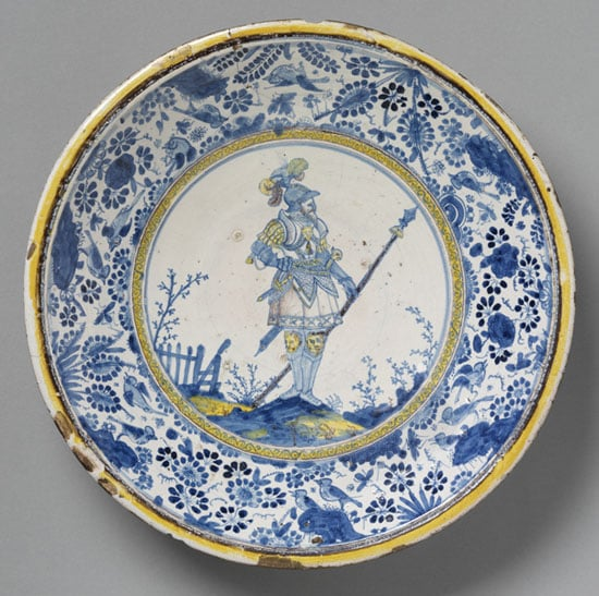 Dish painted with Hector of Troy and Chinese Birds