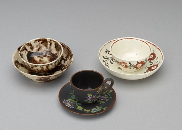 Collection of miniature cups, teabowls and saucers