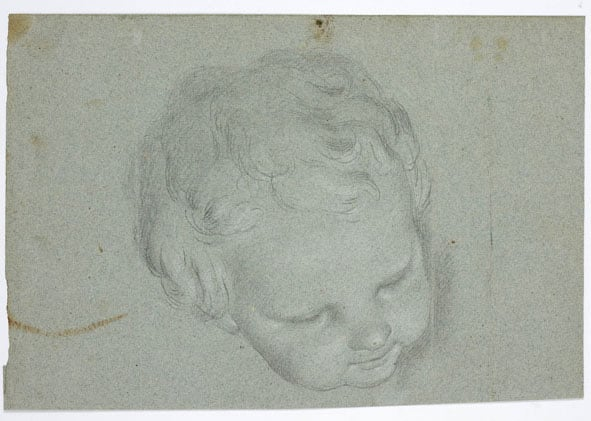 1) Two studies of a Nymph (ceiling figure); 2) Head of a Cherub