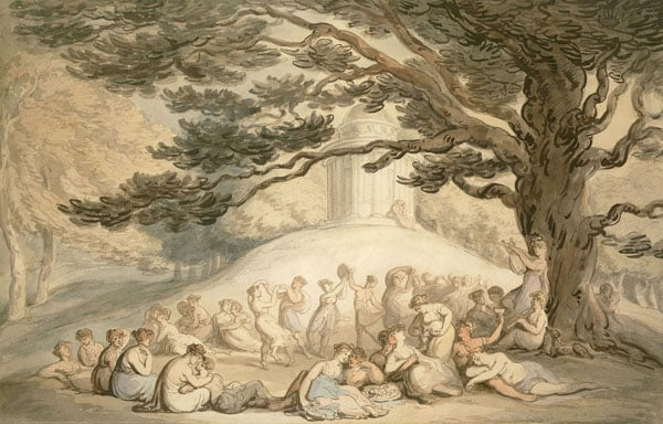 The Beauties of Stowe: Bacchantes dancing and lounging by the Temple of Ancient Virtue