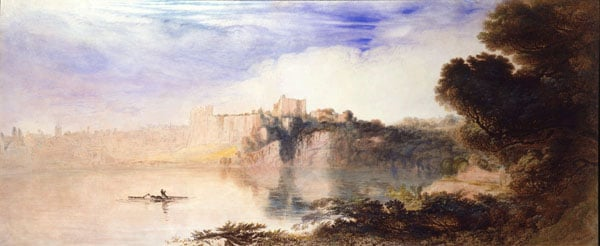View on the River Wye, looking towards Chepstow Castle, Monmouthshire