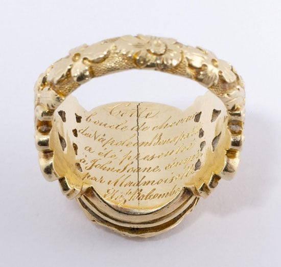Gold mourning ring containing a lock of Napoleon's hair