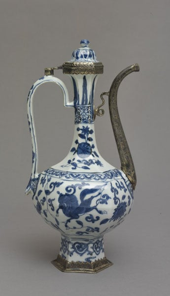 Cup & ewer with silver mounts