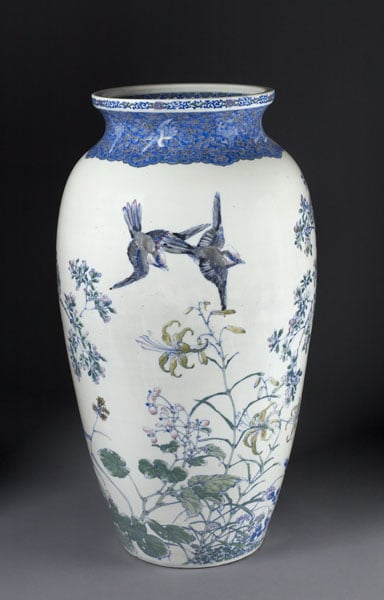 Meiji vase with design of birds and flowers