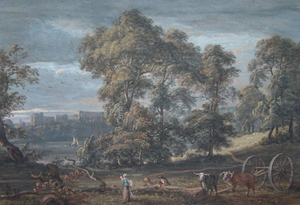 Chepstow Castle with a woodcutter and his family in the foreground
