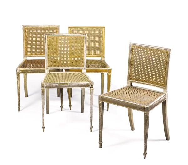 1) Pole screen; 2) Tilliard chairs; 3) Cane chairs; 4) George III roll top bureau; 5) George III pole screen; 6) Flitcroft drawing